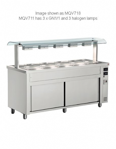 Inomak Gastronorm Bain Marie with Double Sneeze Guard - MQV711